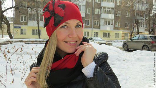 Купить шапку и снуд из трикотажа на заказ. Интернет-магазин шапок. Сезон осень-зима. Ручная работа. Подарок девушке/женщине. Цвет красный. http://www.livemaster.ru/snudyishapochki