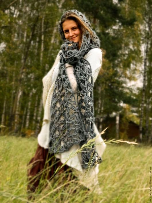 Шарфы и шарфики ручной работы. Ярмарка Мастеров - ручная работа. Купить Серый шарф «Спутница Ветра». Handmade. Темно-серый
