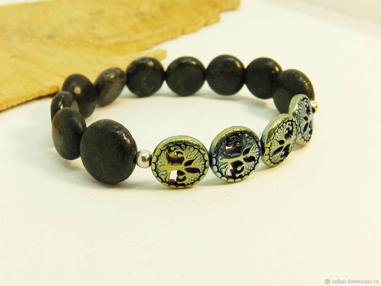 Bracelet made of augite and hematin the Great tree, Bead bracelet, Gatchina,  Фото №1