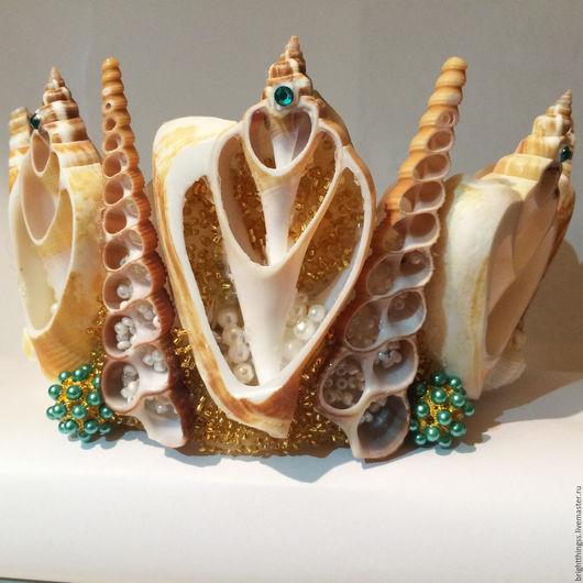 Диадемы, обручи ручной работы. Ярмарка Мастеров - ручная работа. Купить Королева Рода. Handmade. Золотой, море-море, mermaid