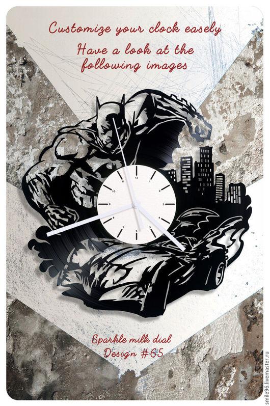 """Часы для дома ручной работы. Ярмарка Мастеров - ручная работа. Купить Часы из пластинки """"Batman"""". Handmade. Комбинированный, batman, бэтмен"""