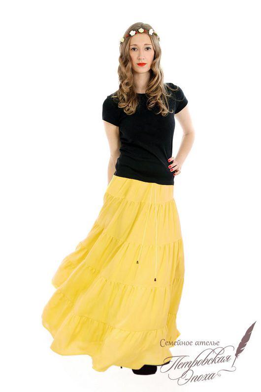"""Юбки ручной работы. Ярмарка Мастеров - ручная работа. Купить Летняя ярусная юбка ,,СВЕТЛАНА"""". Handmade. Желтая юбка"""
