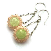 Украшения handmade. Livemaster - original item Long chain earrings with calcite and Czech beads. Handmade.
