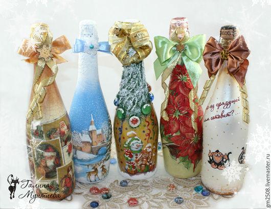 Новый год 2017 ручной работы. Ярмарка Мастеров - ручная работа. Купить Новогодние бутылочки.. Handmade. Комбинированный, зимний пейзаж, стекло