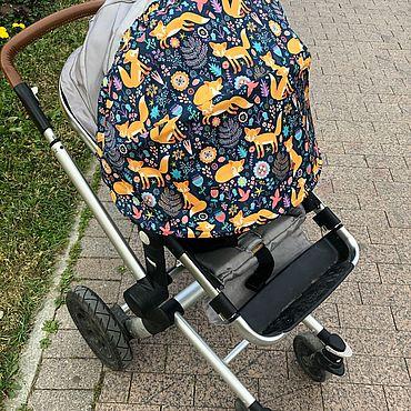Товары для малышей ручной работы. Ярмарка Мастеров - ручная работа Козырек для коляски универсальный «Лисички». Handmade.