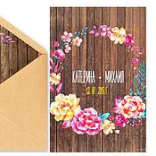 """Свадебный салон ручной работы. Ярмарка Мастеров - ручная работа Свадебное приглашение в конверте """"Rustic Bright"""". Handmade."""