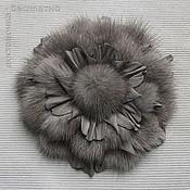 Украшения handmade. Livemaster - original item Brooch grey flower mink. Handmade.