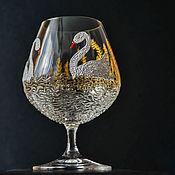 """Посуда ручной работы. Ярмарка Мастеров - ручная работа бокал для коньяка """"Лебеди"""". Handmade."""