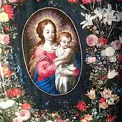 Картины и панно ручной работы. Ярмарка Мастеров - ручная работа Дева Мария с младенцем в цветах. Handmade.