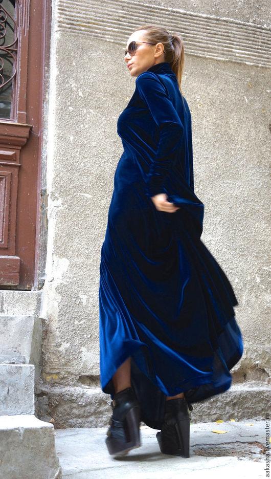 Бархатное платье в пол в темно-синем цвете. Платье макс в пол. Платье из бархата,вечернее платье . Длинное,нарядное платье.
