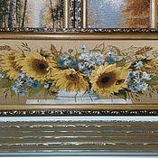 Картины и панно ручной работы. Ярмарка Мастеров - ручная работа Картина гобелен Подсолнухи и ромашки 65х22 см в рамке. Handmade.