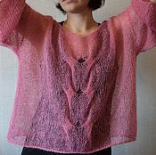 Одежда ручной работы. Ярмарка Мастеров - ручная работа Коралловый свитер, мохер. Handmade.