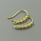 Материалы для творчества handmade. Livemaster - original item Earrings hooks with cubic Zirconia 16x2x1.5 mm gold (Ref. 2930). Handmade.