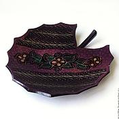Посуда ручной работы. Ярмарка Мастеров - ручная работа Тарелка деревянная Лист. Handmade.