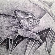 Картины и панно ручной работы. Ярмарка Мастеров - ручная работа Улыбчивый хамелеон. Графика. Handmade.