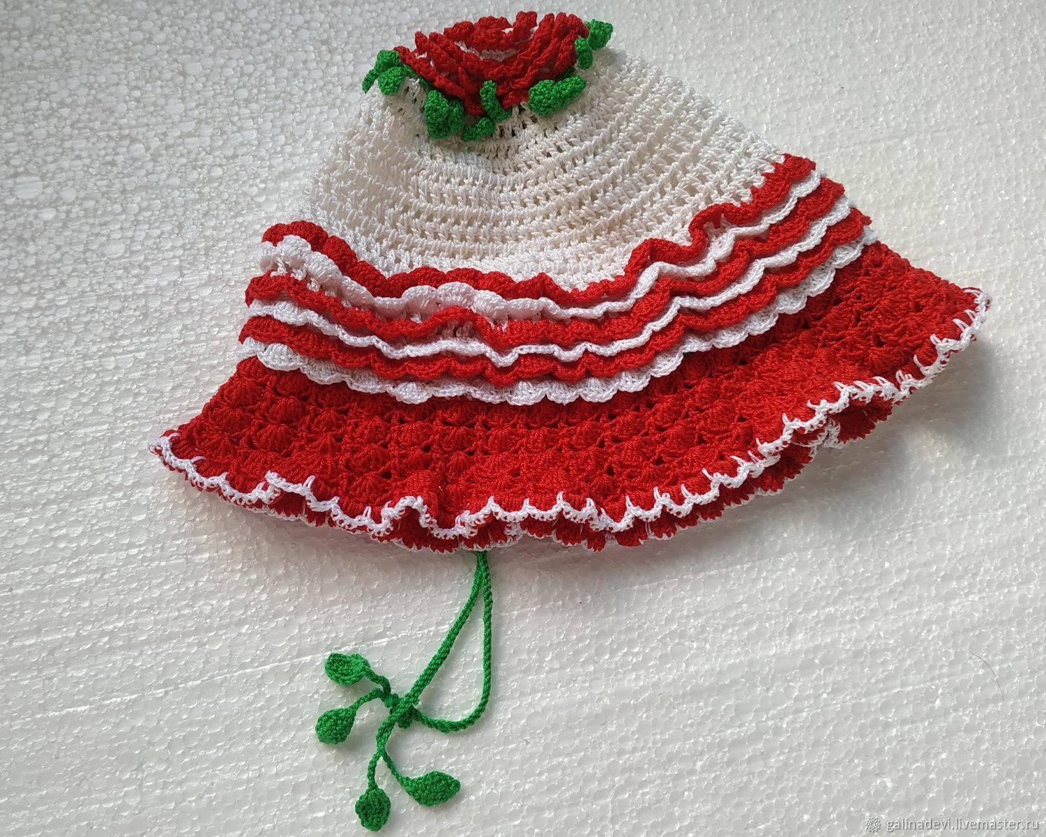 PANAMA KNITTED 'RED ROSE' (size 54-56 cm), Panama, Moscow,  Фото №1
