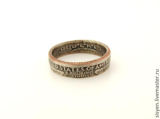 Кольца ручной работы. Ярмарка Мастеров - ручная работа. Купить Кольцо из монеты, Америка, США, две стороны. Handmade. Золотой