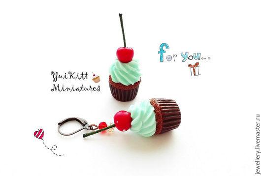 """Серьги ручной работы. Ярмарка Мастеров - ручная работа. Купить Серьги """"Cherry Cupcakes"""". Handmade. Мятный, мятный цвет"""