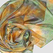 """Аксессуары ручной работы. Ярмарка Мастеров - ручная работа """"Чайная роза и мята"""" шарфик из шелка с ручным окрашиванием шибори. Handmade."""