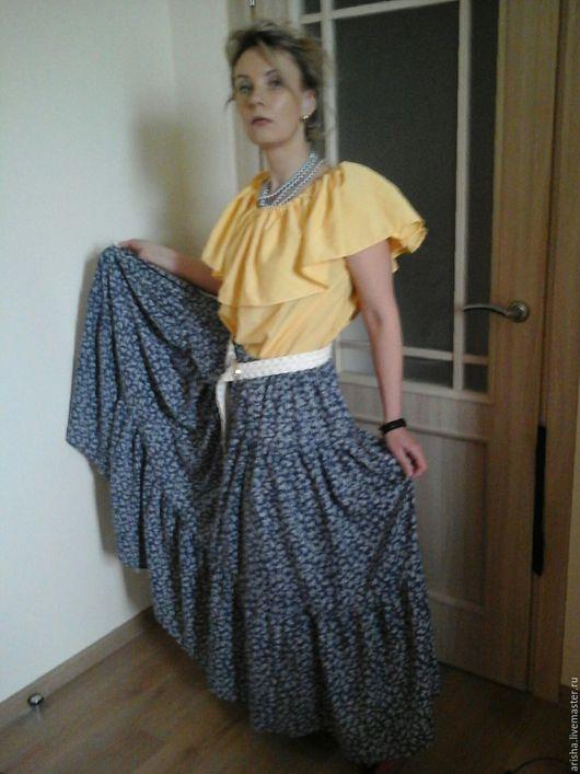 Юбки ручной работы. Ярмарка Мастеров - ручная работа. Купить юбка из  хлопка цветы джинс. Handmade. Юбка объемная