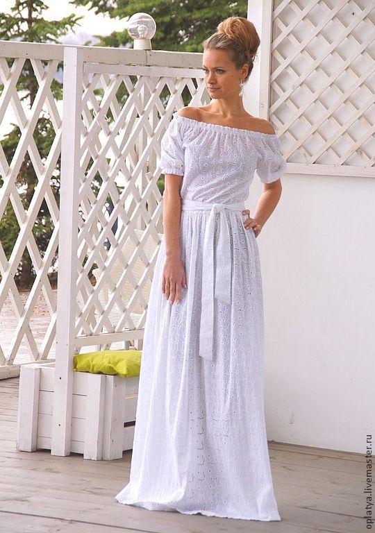 Бело платье длинное хлопок