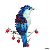 """Украшения ручной работы. Ярмарка Мастеров - ручная работа Брошь-птица """"Кобальт».Птица на ягодной ветке.. Handmade."""
