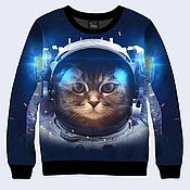 """Одежда ручной работы. Ярмарка Мастеров - ручная работа Свитшот """"Кот в космосе"""". Handmade."""