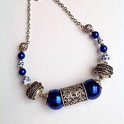 Украшения handmade. Livemaster - original item Jewelry set made of porcelain and pearls in an Oriental style, the Breath of the night. Handmade.