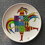 """Посуда ручной работы. Ярмарка Мастеров - ручная работа Декоративная тарелка""""Танцующий петух"""". Handmade."""