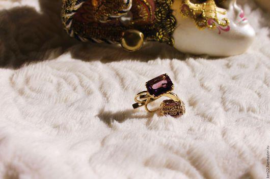 Серьги ручной работы. Ярмарка Мастеров - ручная работа. Купить Золотые серьги с аметистами. Handmade. Желтый, аметисты, золото с камнями