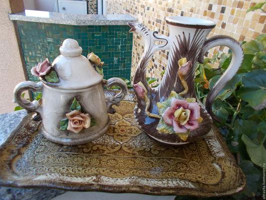 Винтажная посуда. Ярмарка Мастеров - ручная работа. Купить Сахарница и чайник Ваssano винтаж,Италия. Handmade. Комбинированный, керамическая сахарница