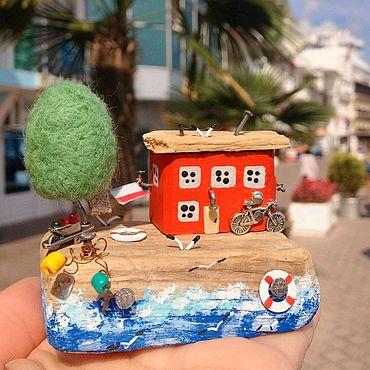 Для дома и интерьера ручной работы. Ярмарка Мастеров - ручная работа Дрифтвуд домики Дом у Моря. Handmade.