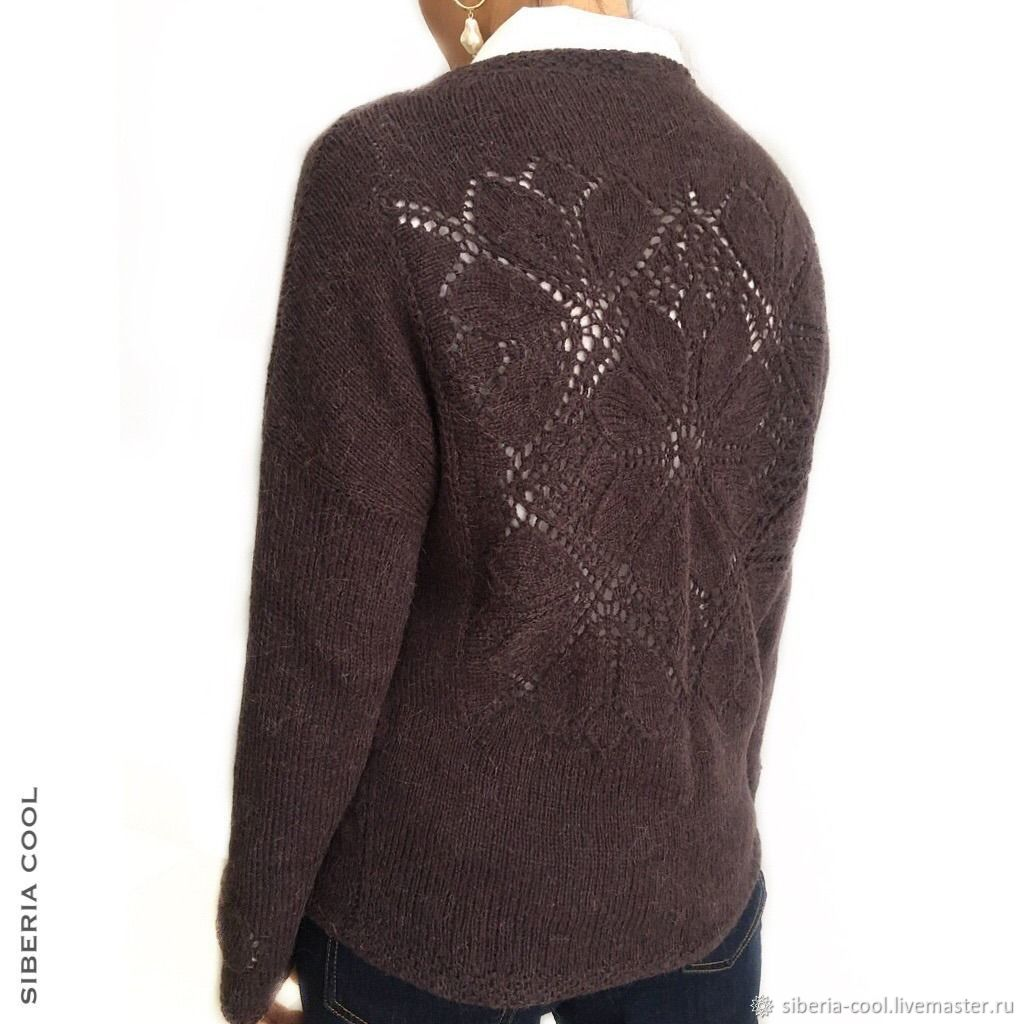 Пуловер женский Пион, V - вырез, ажурная спинка, карман, альпака, Пуловеры, Воронеж,  Фото №1