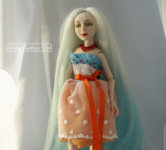 Шарнирная кукла, BJD, кукла в оранжевом платье, яркая кукла, нежная кукла ручной работы, коллекционная кукла, красивая интерьерная кукла, кукла сувенирная, кукла русалка, подвижная кукла, бдж кукла