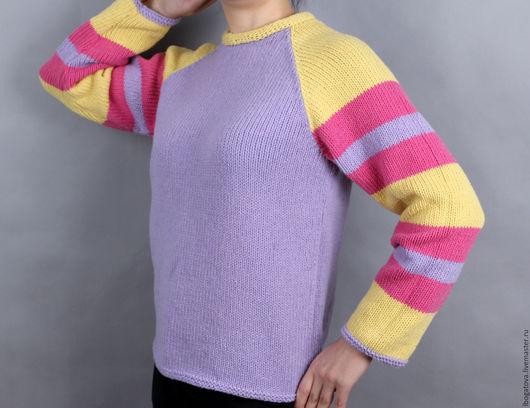 """Кофты и свитера ручной работы. Ярмарка Мастеров - ручная работа. Купить Готовый Вязаный свитер реглан  из мериноса и кашемира """"Веселый Я"""". Handmade."""