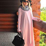 Одежда handmade. Livemaster - original item Maxi dress Jersey asymmetric hem. Color pale pink. Handmade.
