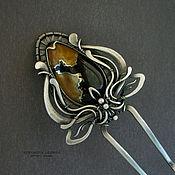 Украшения ручной работы. Ярмарка Мастеров - ручная работа серебряная шпилька  Желто-черная  лилия. Handmade.