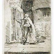 """Картины и панно ручной работы. Ярмарка Мастеров - ручная работа Картина  """"Слепой Товий"""" офорт копия работы Рембрандта. Handmade."""