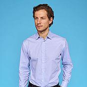 Одежда ручной работы. Ярмарка Мастеров - ручная работа Blue Gingham Cotton Shirt. Handmade.