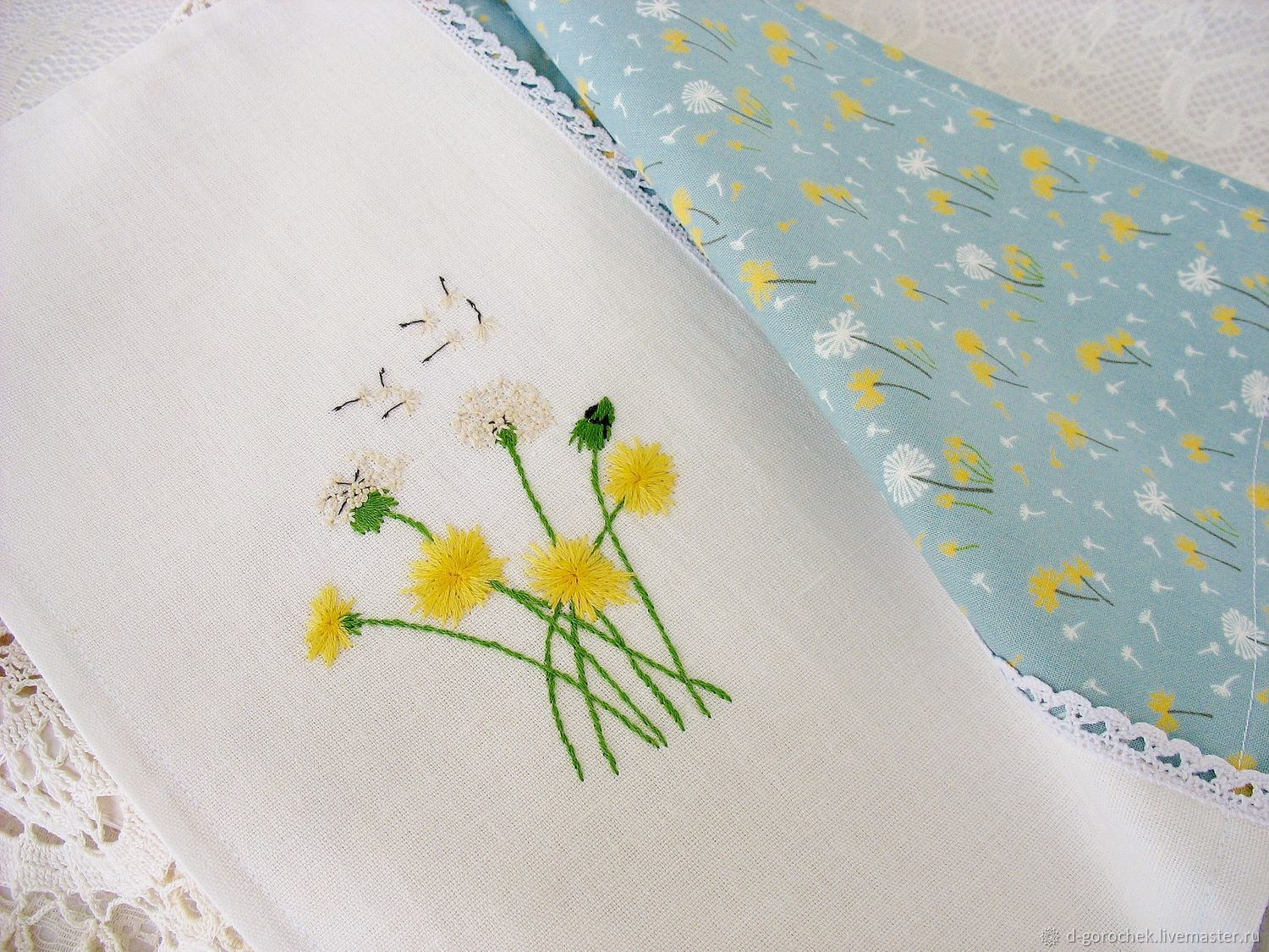 Napkin with hand embroidery ' Dandelions', Doilies, Ekaterinburg,  Фото №1