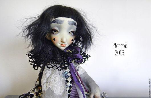 Коллекционные куклы ручной работы. Ярмарка Мастеров - ручная работа. Купить Пьеро. Handmade. Фиолетовый, кукла ручной работы, стеклярус