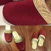 """Обувь ручной работы. Ярмарка Мастеров - ручная работа Кожаные  тапочки  """"УЗОР"""". Handmade."""