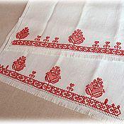 Русский стиль handmade. Livemaster - original item Track towel hand embroidery hemstitch white linen red. Handmade.