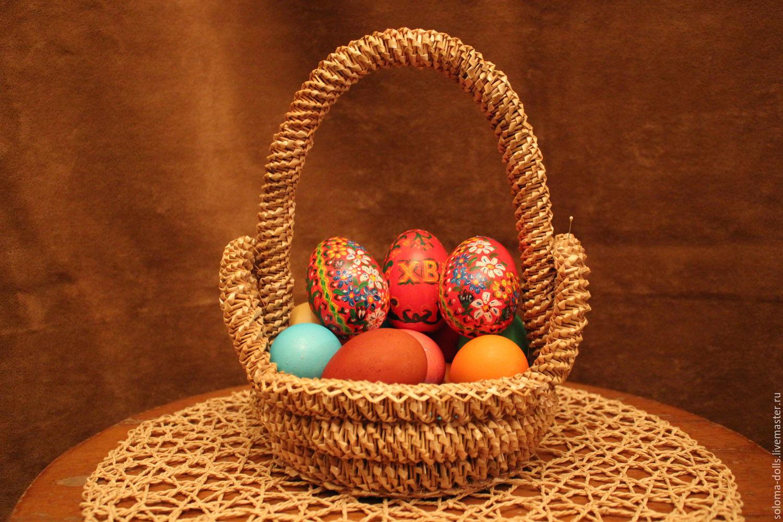 Пасхальные яйца в корзинке своими руками