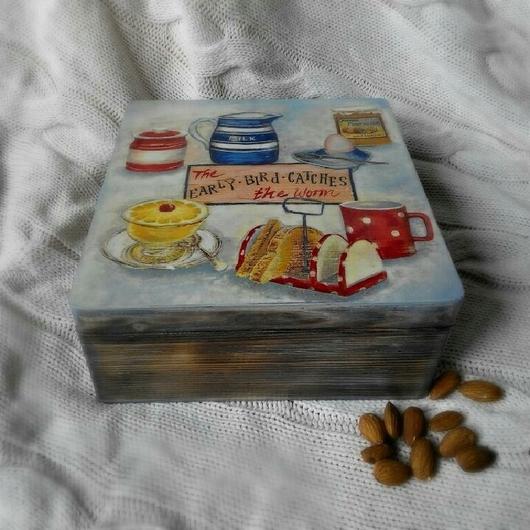 """Шкатулки ручной работы. Ярмарка Мастеров - ручная работа. Купить Шкатулка """"Чайная"""". Handmade. Голубой, шкатулка чайная, браширование, тонирование"""