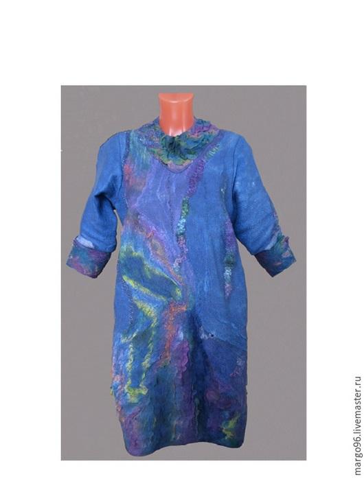 Платья ручной работы. Ярмарка Мастеров - ручная работа. Купить синее платье - баллон. Handmade. Валяное платье. Nunufelt.