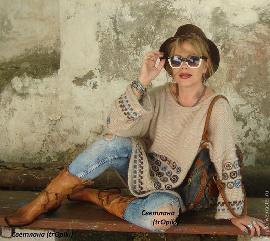 """Кофты и свитера ручной работы. Ярмарка Мастеров - ручная работа. Купить """"Сабрина"""" вязаная авторская туника в стиле ЭТНО. Handmade."""