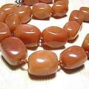 Материалы для творчества handmade. Livemaster - original item Aventurine orange large beads 18h12 mm. Handmade.