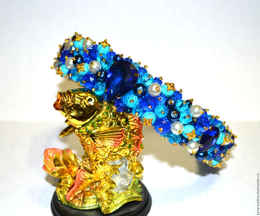 """Диадемы, обручи ручной работы. Ярмарка Мастеров - ручная работа. Купить Ободок с камнями """"Сапфир"""". Handmade. Синий, Ободок с камнями"""