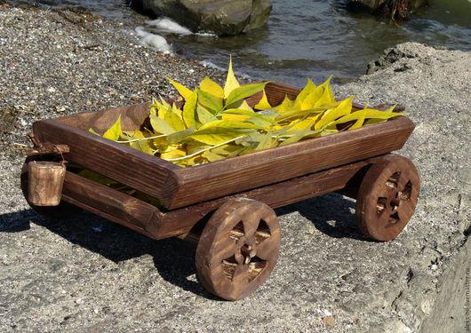 Экстерьер и дача ручной работы. Ярмарка Мастеров - ручная работа. Купить телега деревянная декор для сада. Handmade. Телега, интерьер